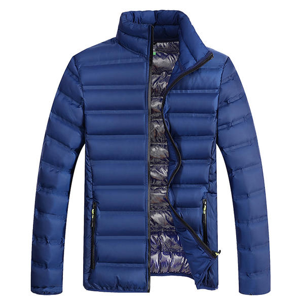 Mens Thick Stand Collar Jacket Winter Casual Solid Color Padded Slim Fit Waterproof  Coat