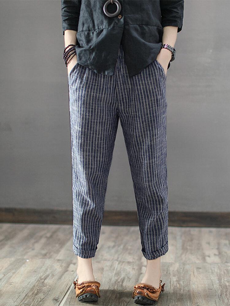 1121cc437649d المرأة مقلم السامي مطاطا الخصر سروال طويل الحريم في Banggood ...