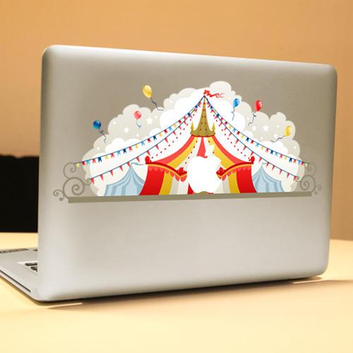PAG Sirk Dekoratif Laptop Decal Çıkarılabilir Kabarcık Ücretsiz Kendinden Yapışkanlı Kısmi Renkli Cilt Sticker
