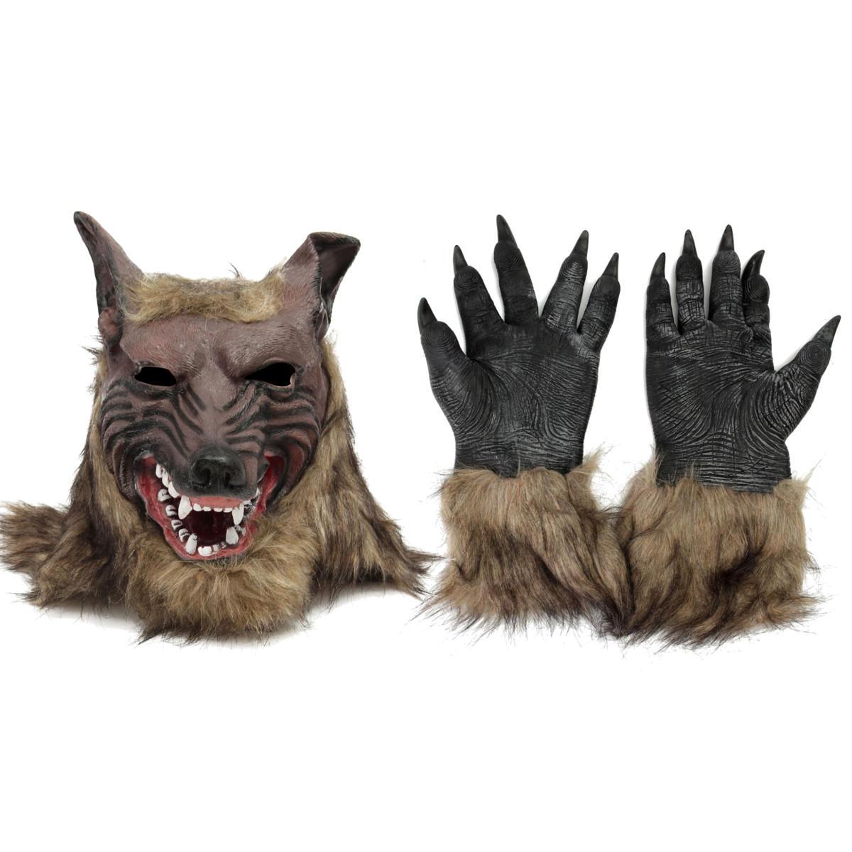1 / 2PCS Латекс Резиновый волк Глава Волосы Маска Оборотень Перчатки Партия Страшный Хэллоуин Косплей