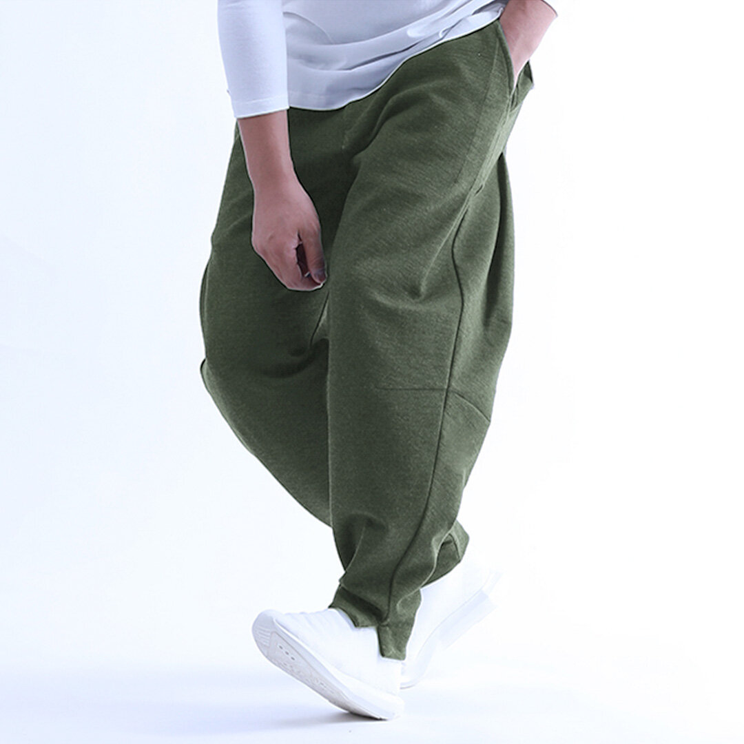 Mens Elastic Cotton Breathable Brief Solid Color Comfy Fashion Casual Straight Pants