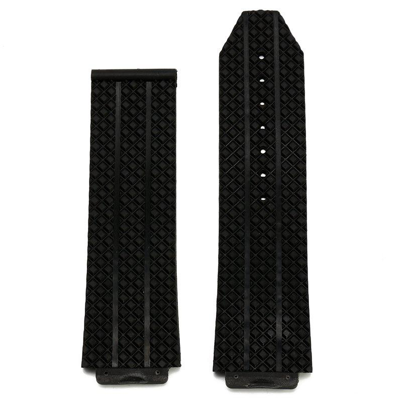 24mm Replacement Black Silicone Rubber Watch Band Strap For Hublot Big Bang Fusion