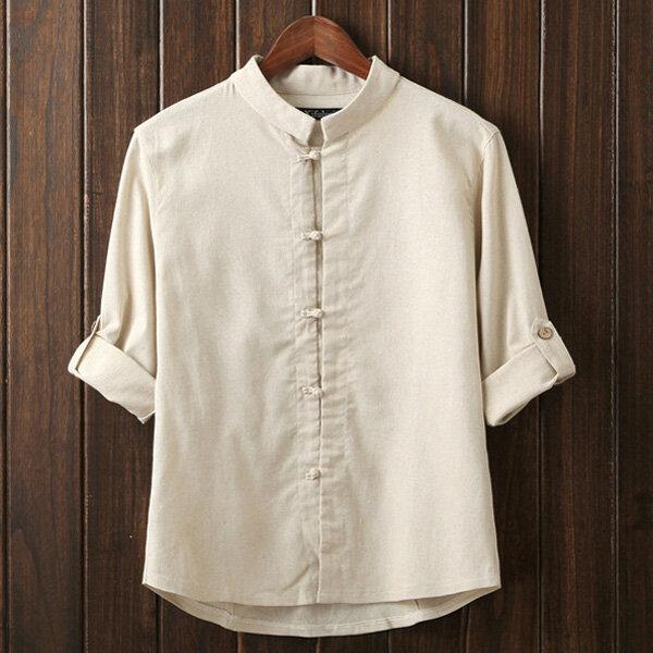 Mens Kinesisk stil Vintage bomull Linen Groda Button Tre Quarter Sleeve Casual Shirts