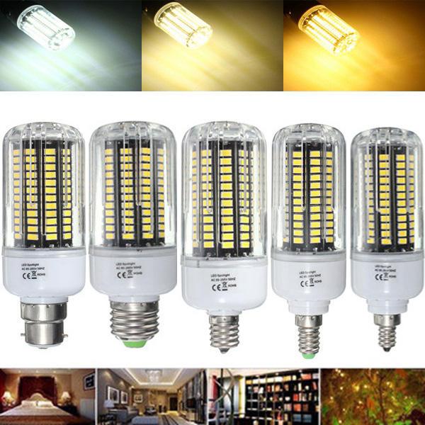 E27 E17 E14 E12 B22 18W 100 SMD 5736 LED Ampoule de maïs blanc pur blanc chaud blanc naturel AC85-265V