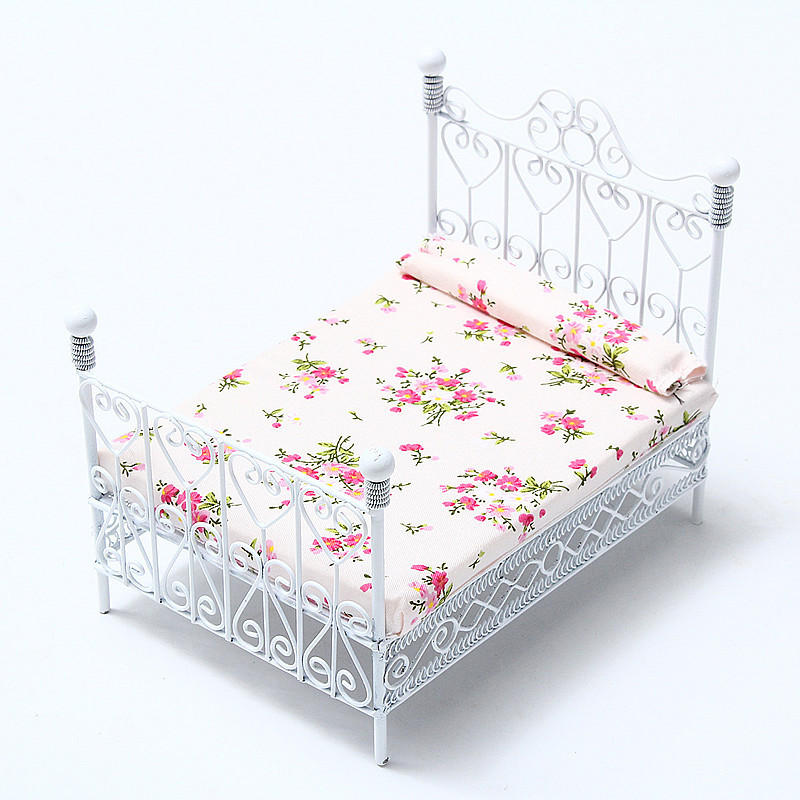 Dollhouse Miniature Bedroom Furniture Metal Bed With Mattress White