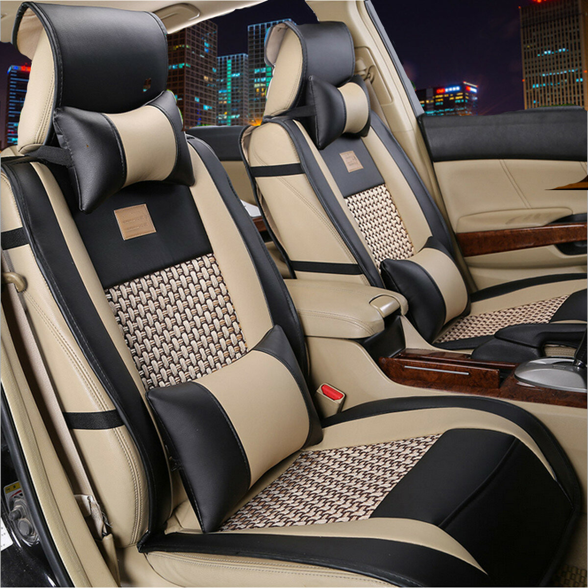10pcs Car PU Leather Front Rear Seat Cushion Covers Universal For 5