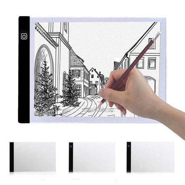 A4 2000LM USB 3 Mode de Dimage LED Art Pochoir Panneau Boîte à Lumière Traçage Planche à Dessin Tablette de Travail avec Lampe