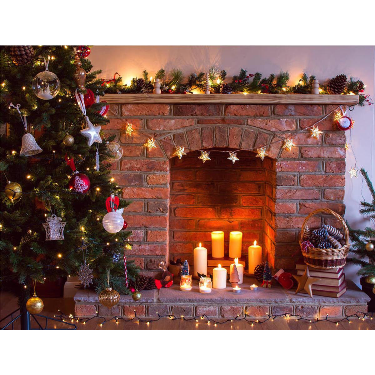 7x5ft vinyle rétro arbre de Noël cheminée photographie fond toile de fond accessoires