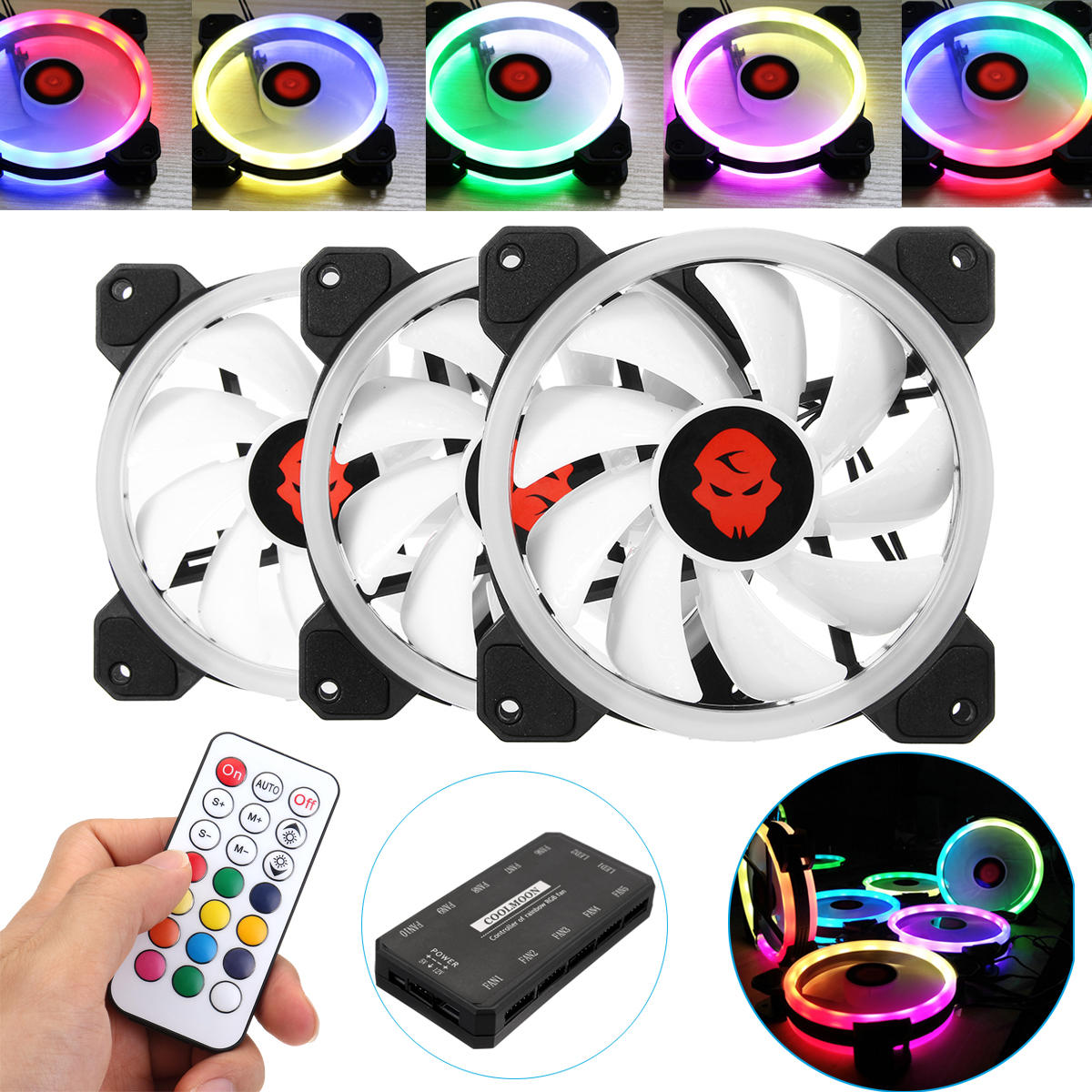 coolmoon 3pcs 120mm adjustable rgb led light computer case pc rh banggood com