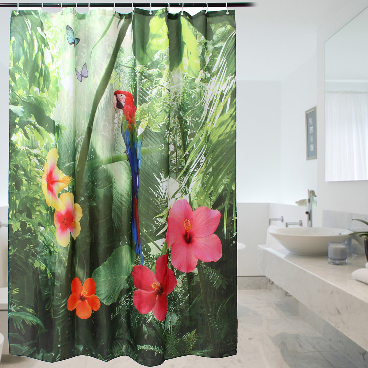 180200cm 72 Inch Polyester Shower Curtain Parrot Waterproof Fabric Curtains For Bathroom At Banggood Sold Out