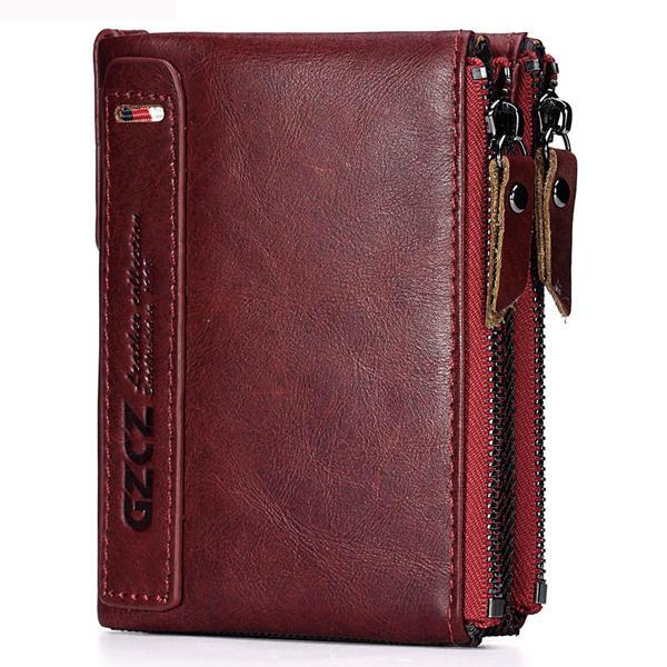 الرجال النساء جلد طبيعي الرجعية Bifold محفظة حامل البطاقة قصيرة المحفظة