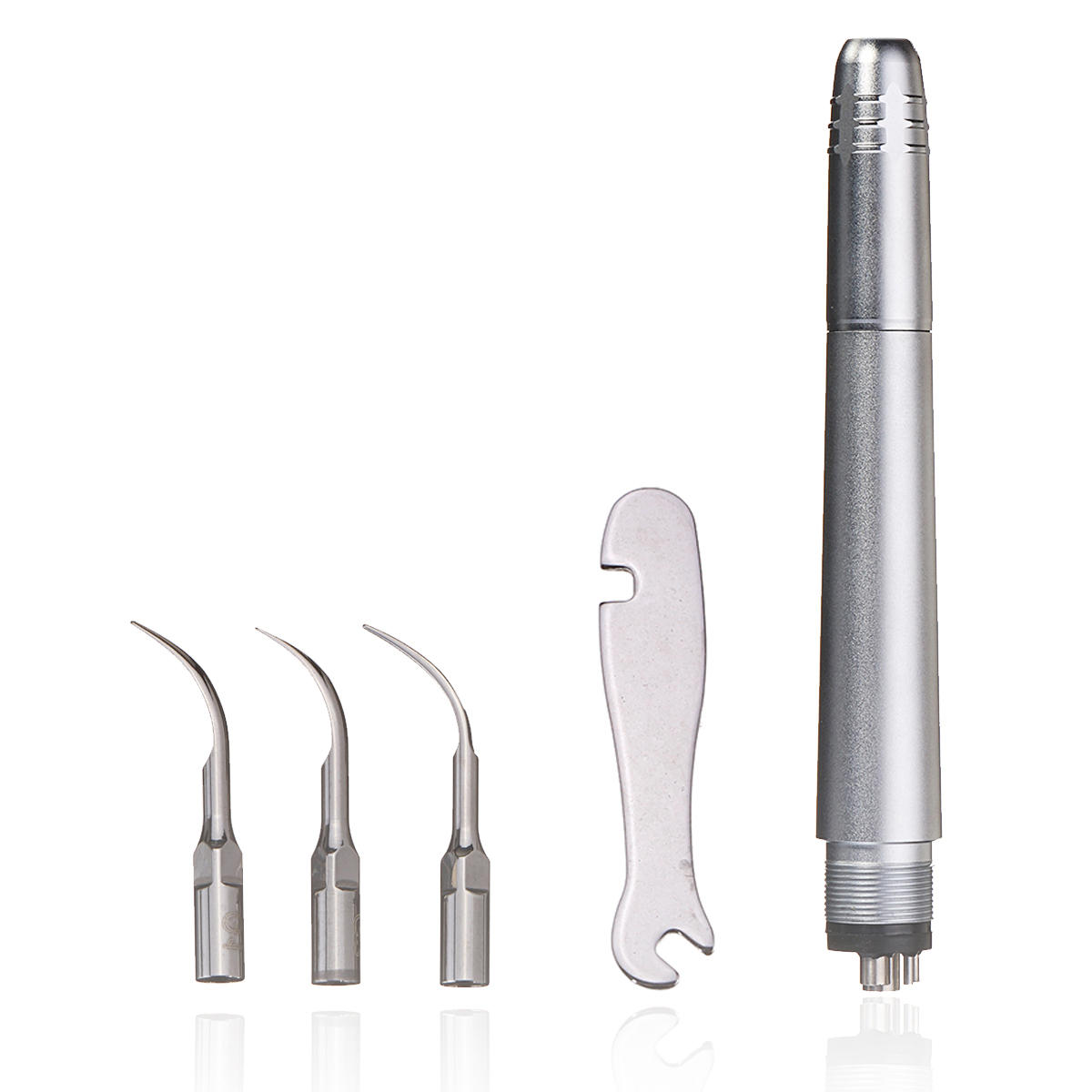 4 Holes Dental Ultrasonic Periodontal Air Scaler Kits with 3 Compatible Tips Teeth Cleaners Tools