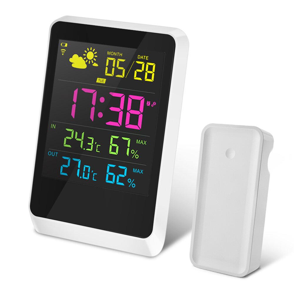 DIGOO DG-TH11200 HD Colorful Mini estación meteorológica al aire libre Interior Termómetro Higrómetro Temperatura de humedad Sensor Reloj con función de repetición Calendario