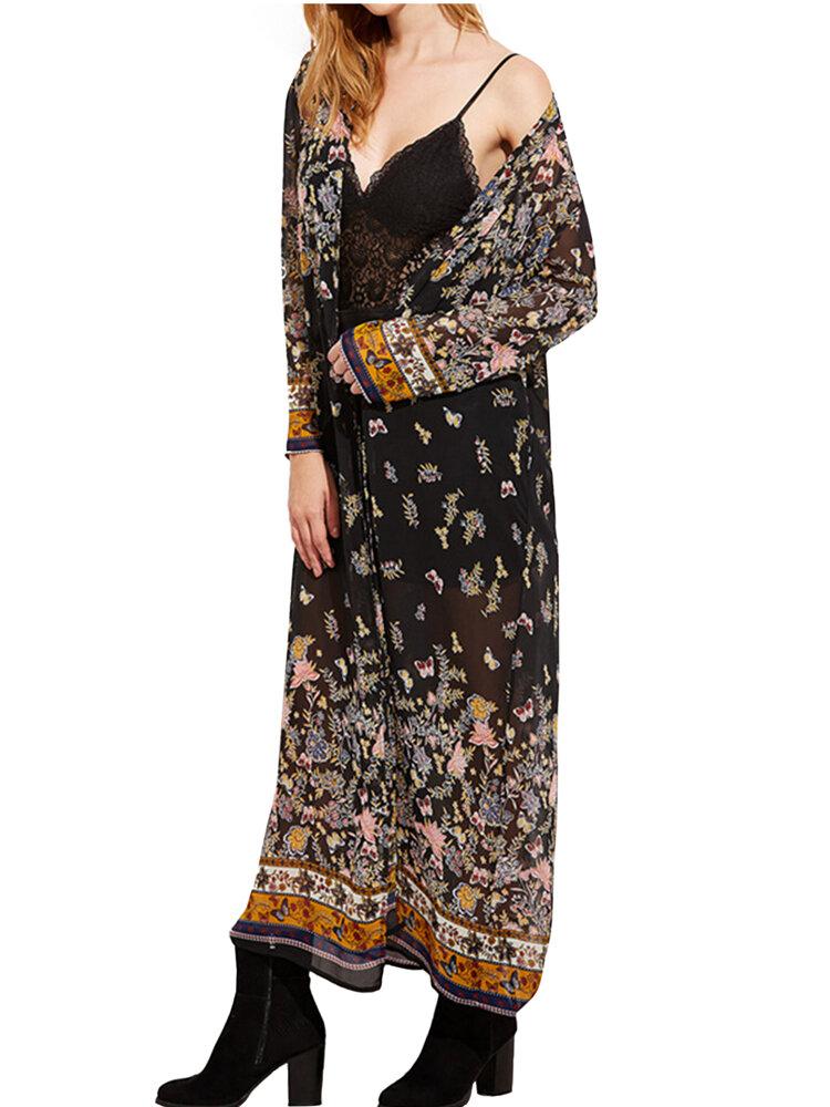 เสื้อผ้าผู้หญิงแบบ Retro ชุดกิโมโนผีเสื้อพิมพ์ยาว