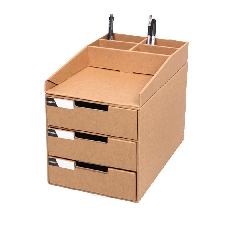 desktop file storage box brown paper storage box three layer rh banggood com