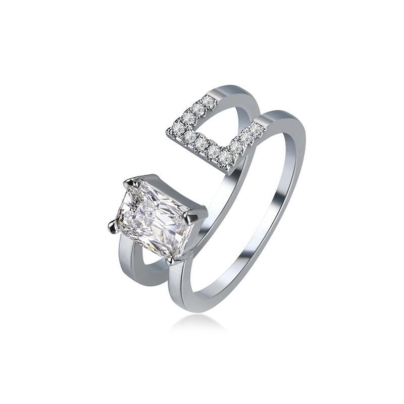 Lujo de doble capa ajustable anillo de anillo abierto platinado anillo de circonita brillante para Mujer