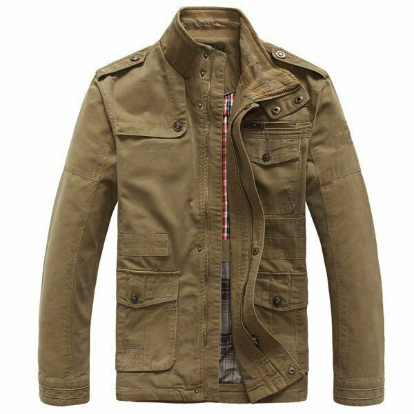 1c9fb028299 Big Size Men Outdoor Autumn Cotton Blend Zipper Cargo Coat Jacket Outwear  S-5XL COD