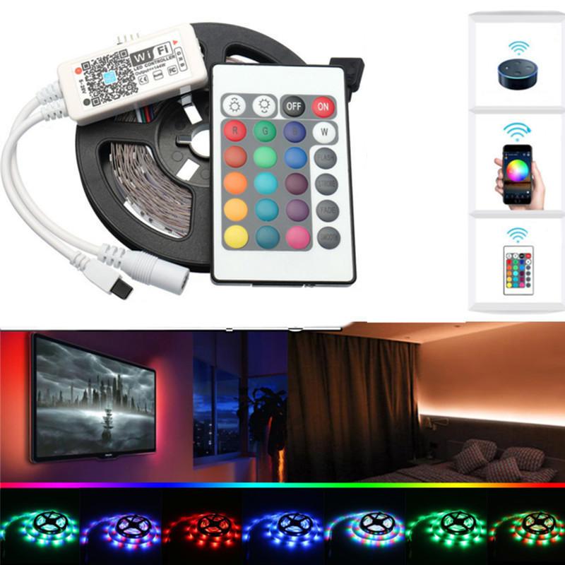 DC12V 2 * 5M非防水SMD2835スマートWIFI Alexa Googleホームコントロール柔軟なRGB LEDストリップライト