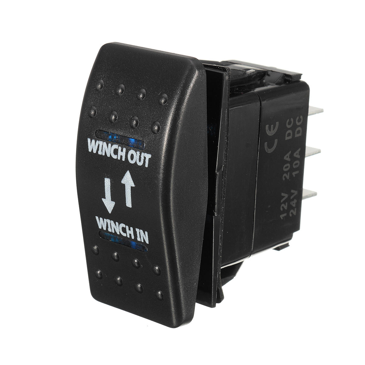 12V 20A (ON) -OFF- (ON) Interruptor basculante Momentáneo Winch In Winch Out LED 7-Pin