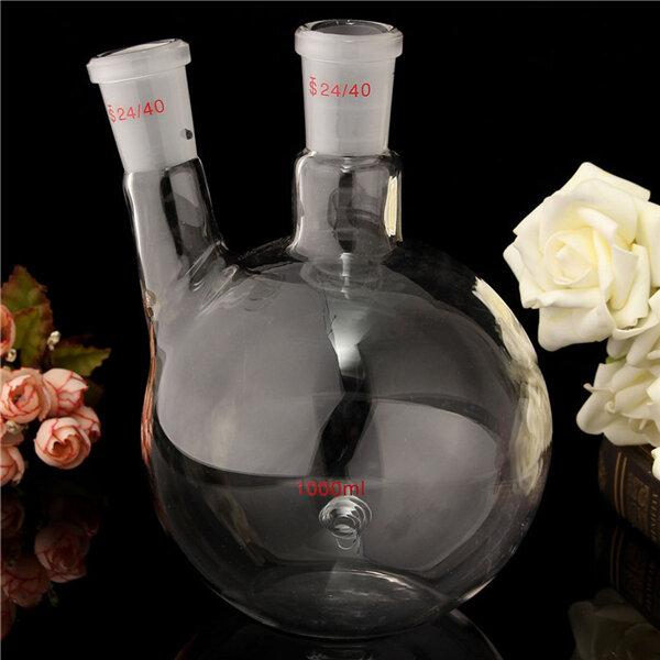 1000ml 2 24/40 cou fond plat flacon en verre de laboratoire ébullition bouteille