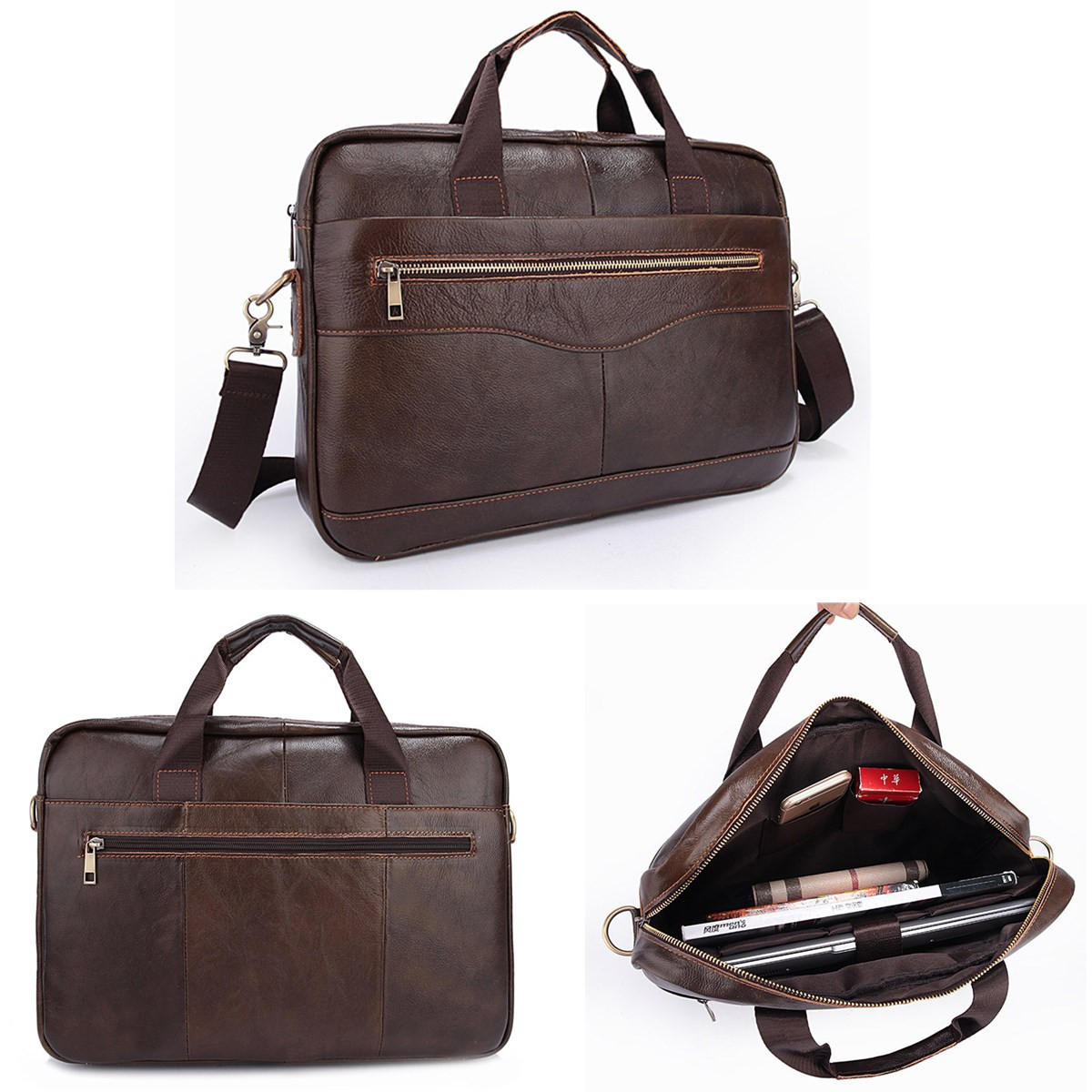 Men Briefcases Handbag Document Business Office Laptop Bag Leather Male Work Bag Brown
