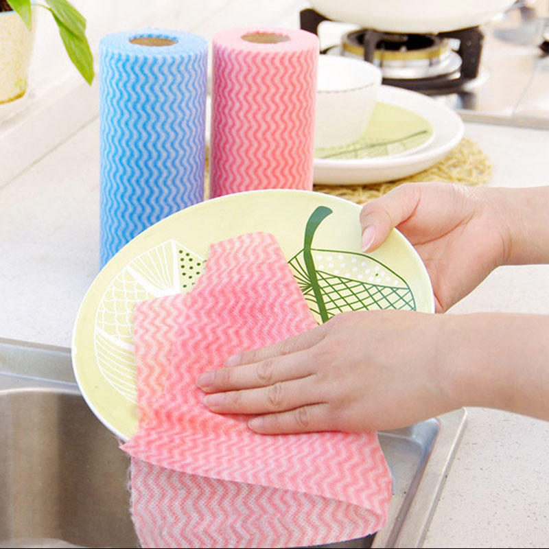 50pcs roll non woven kitchen cleaning cloth disposable eco friendly