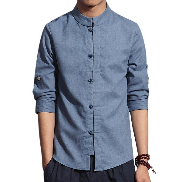 435d21d4ce Camicia di lino casual per uomo primavera estate Sottile a tre quarti in  stile cinese