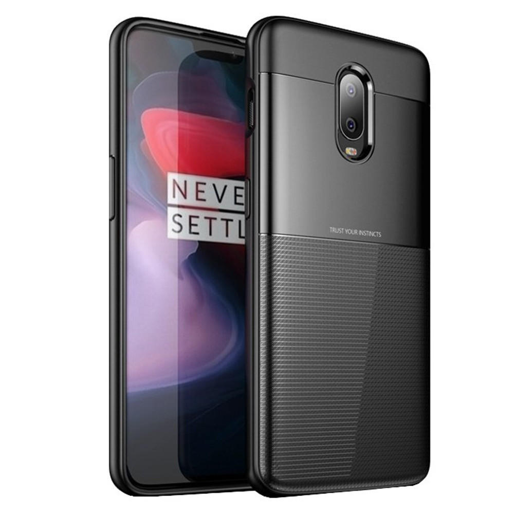Bakeey™ Carbon Fiber Pattern Shockproof Silicone Soft Back Cover Protective Case for OnePlus 6T