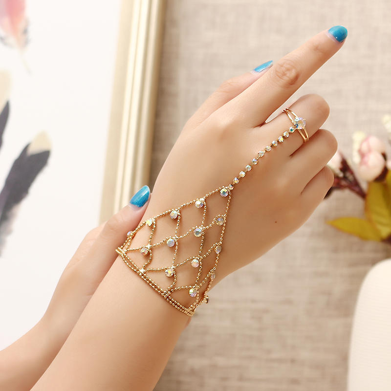 JASSY® 18K Gold Plated Colorful Rhinestone Palm Bracelet With Ring Fashion Anallergic Women Jewelry