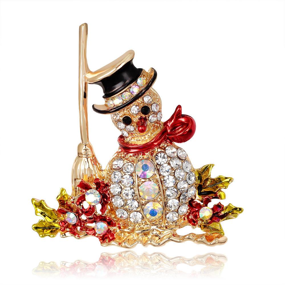 크리스마스 눈사람 산타 클로스 패션 브라 꽃다발 꽃 패턴 브로치 핀 라인 석 상감 크리스탈 여성 웨딩 브로치
