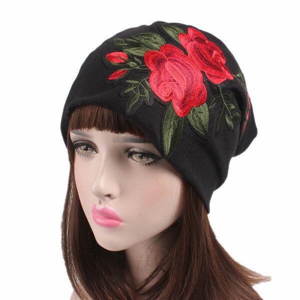 a1a2a76cbfbaf Chemo Cap Womens Soft Embroidery Flower Beanie Sleep Turban Hat Headwear  For Cancer Patients - Black COD