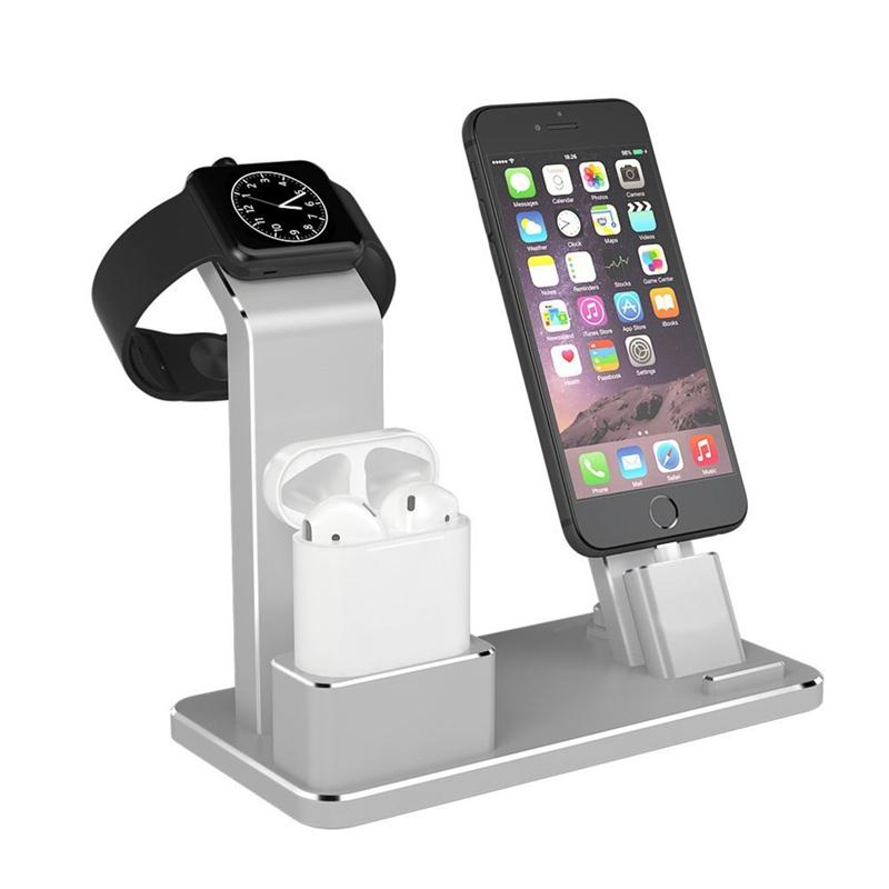 Aluminum 4 In 1 Charging Dock Station Stand Holder For Iphone Le Watch Series