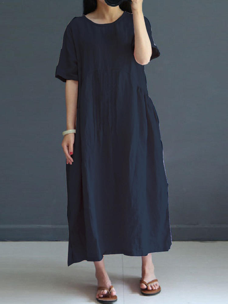 Vintage Women Short Sleeve Lös Casual Mid Long Dress