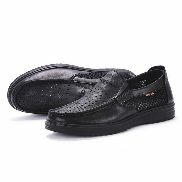 1694dddd8 comfy men leather breathable hollow outs slip on oxfords at Banggood