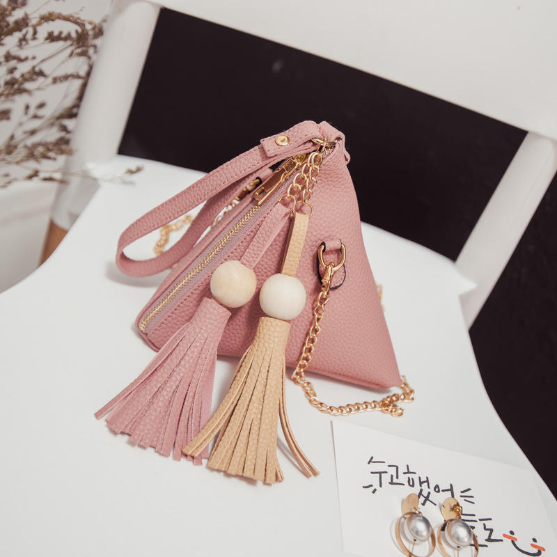 Universal Women Triangle Tassel PU Phone Wallet Hand Bag Cover Case for iPhone Xiaomi Under 5.5 Inch