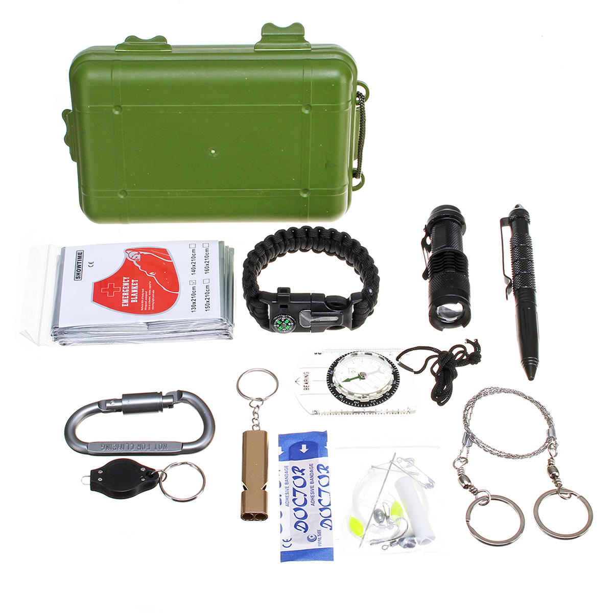27 in 1 SOS Emergency Camping Survival Equipment Tools Kit Outdoor Gear Tactical Tool Whistle Flashlight
