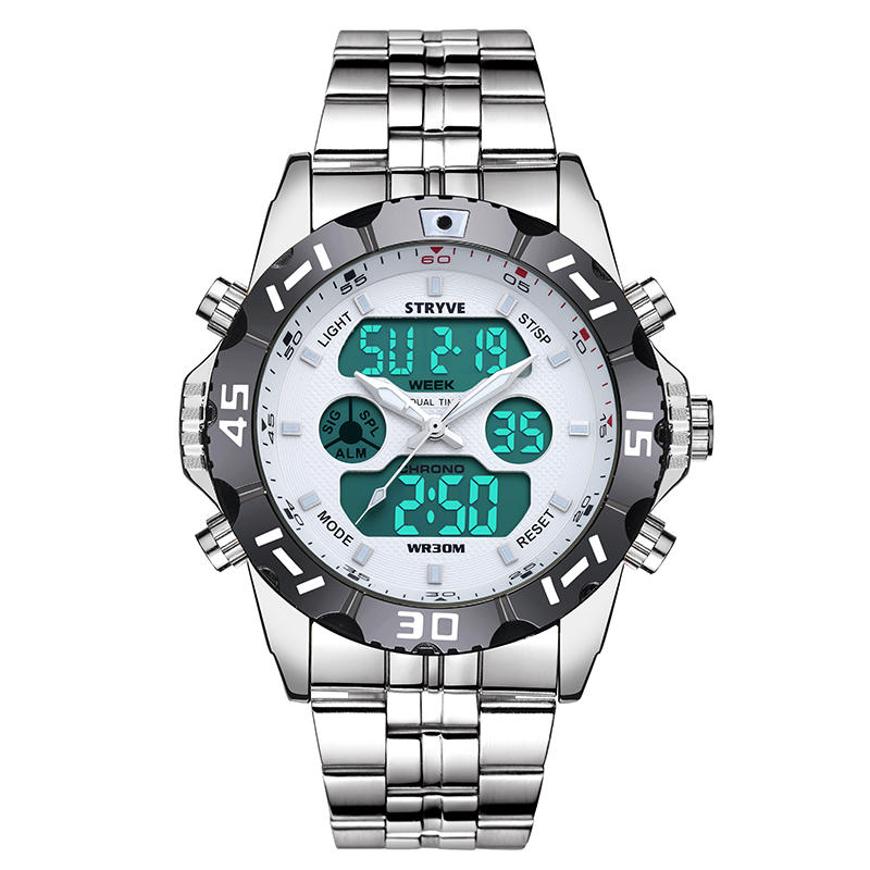 STRYVE S8011 Chronograph Alarm Calendar Stainless Steel Sport Dual Display Digital Watch