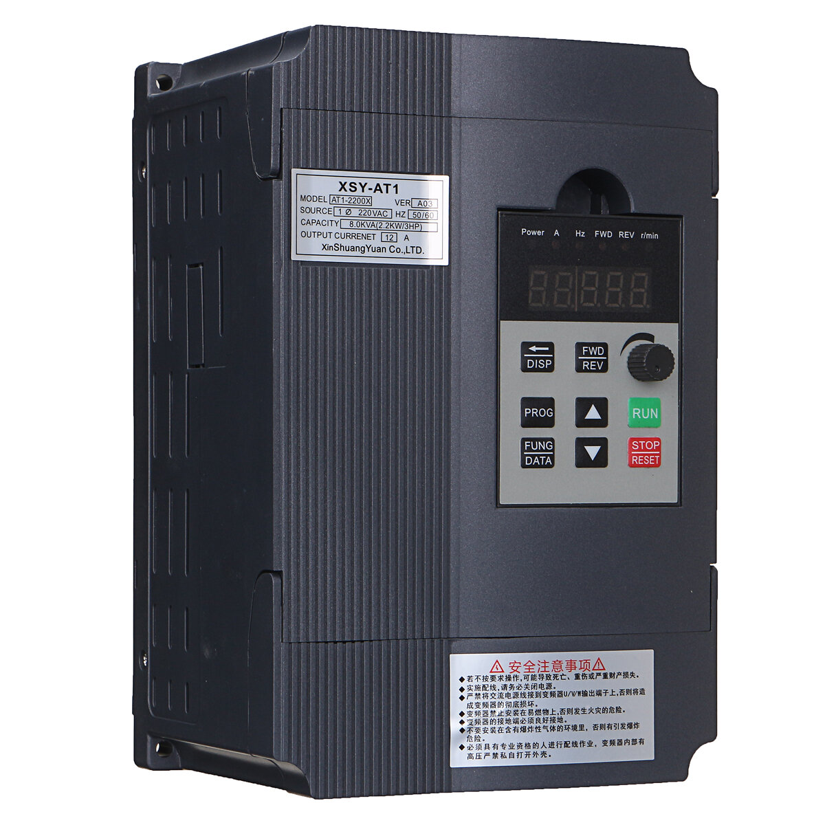 2.2KW 12A 220V 1PH In 3PH Out Variable Frequency Converter Drive Inverter V/F Vector Control