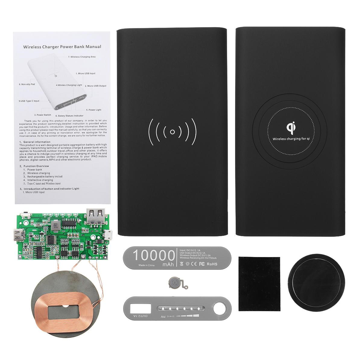 qi power bank diy case kit wireless charging usb type c port for