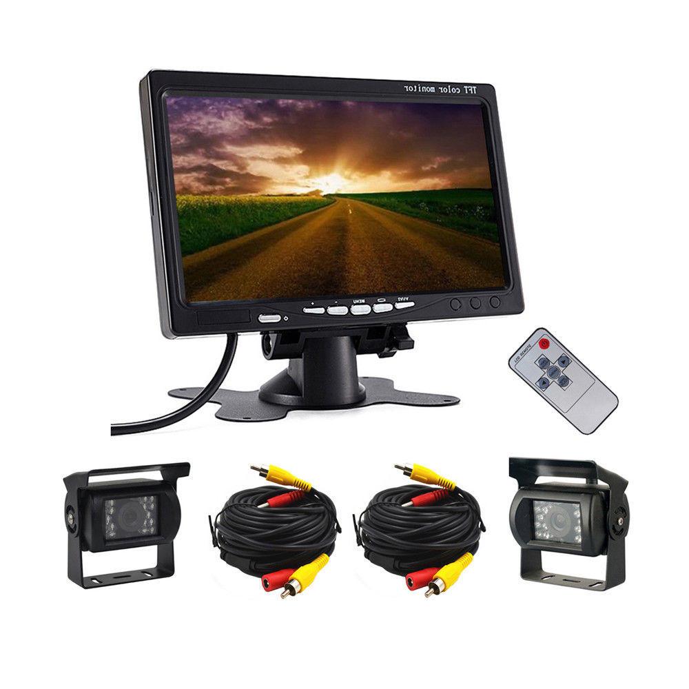 Système de caméra de recul avec vue arrière câblée de voiture 12-24V 2 DVR et moniteur de 7 pouces pour bus de camion rv