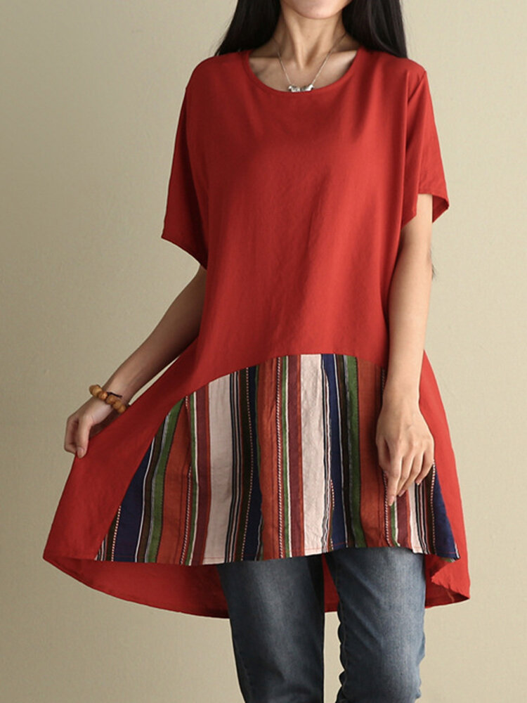 Women Stripe Patchwork T-shirts à cols libres