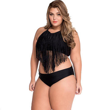 3f03228a6 Summer Women Sexy Bikini Split Fringe Push Up Plus Size Swimwear High  Wisted Bathing Suit - XL COD