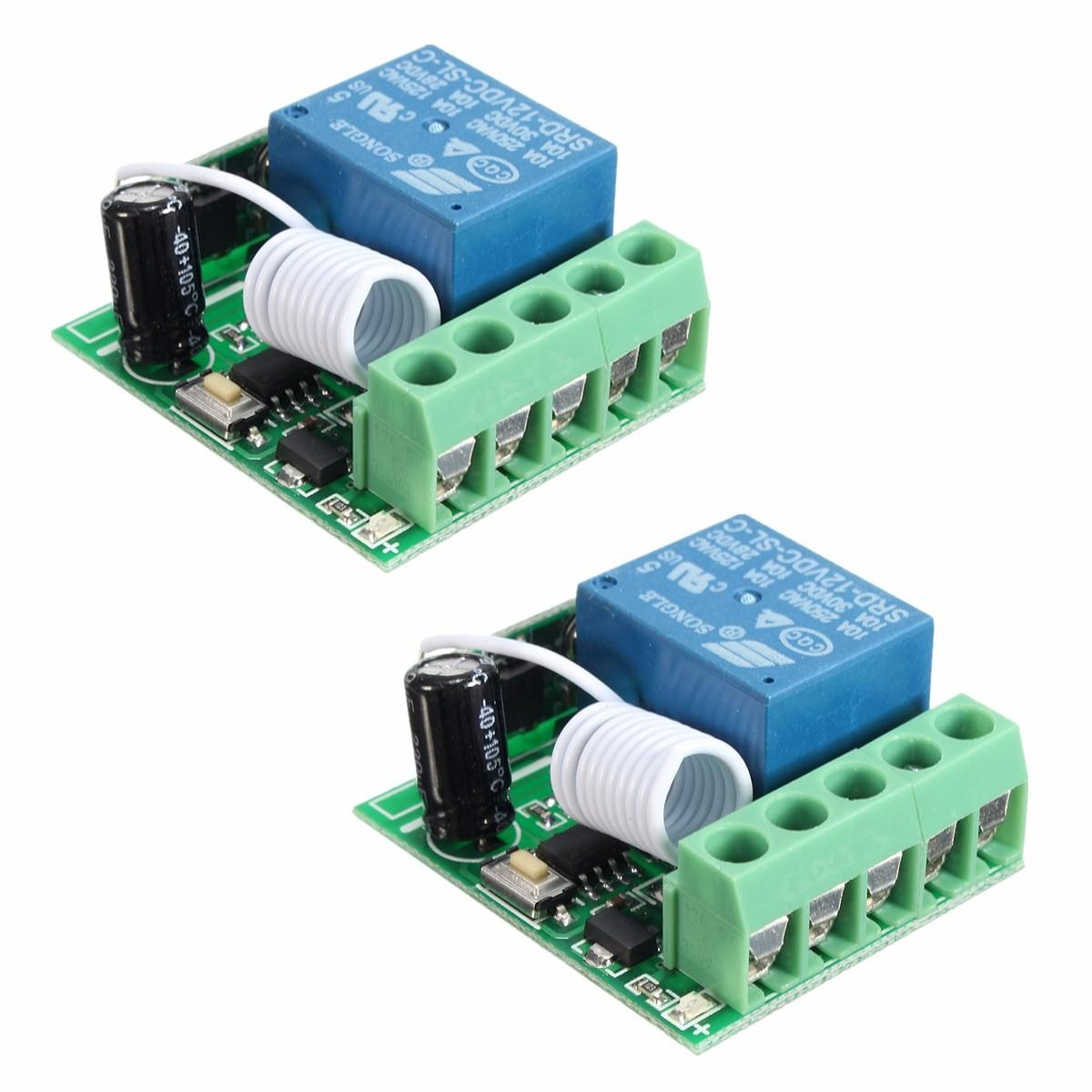 2pcs Dc12v 10a 1ch 433mhz Wireless Relay Rf Remote Control Switch Circuit Receiver