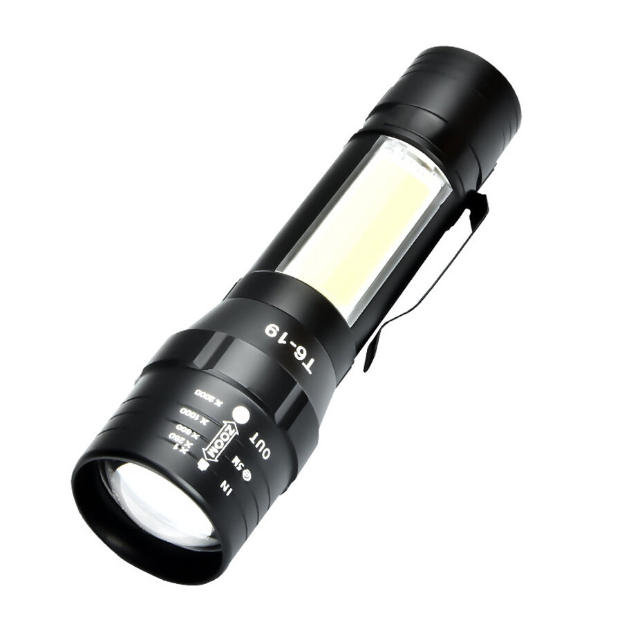 XANES T6+COB 4Modes Front + Side Light USB Rechargeable Zoomable Mini LED Flashlight
