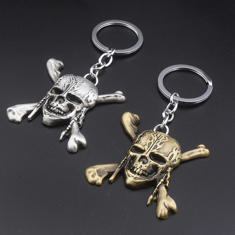 Punk Pirates of the Caribbean Keychain Captain Skull Pendant Key Ring Gift