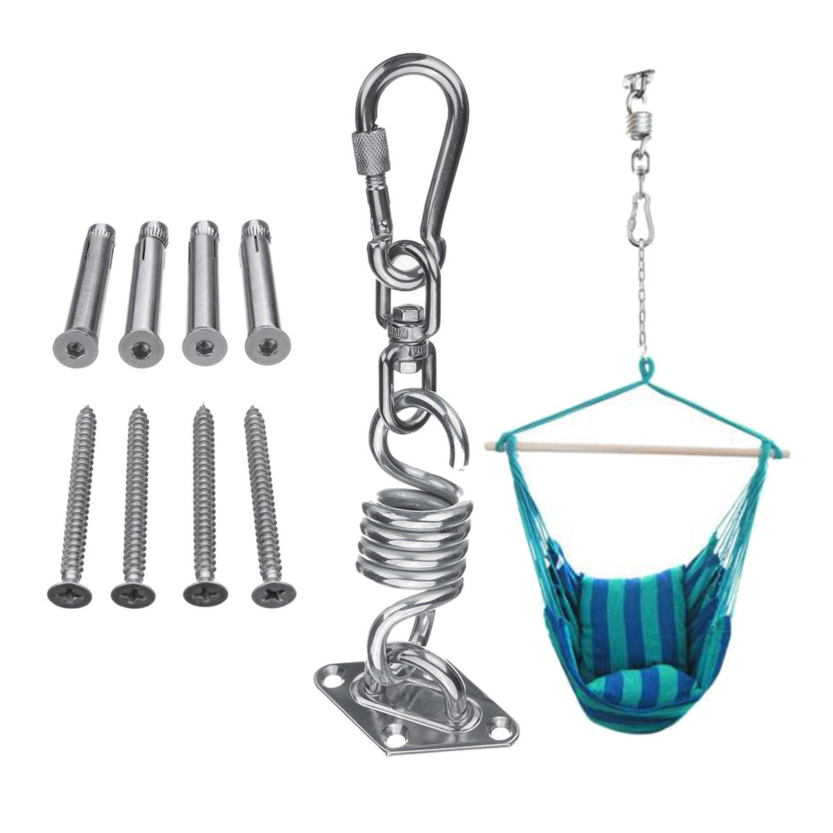 Stainless Steel Hammock Chair Hanging Kit Ceiling Mount Spring