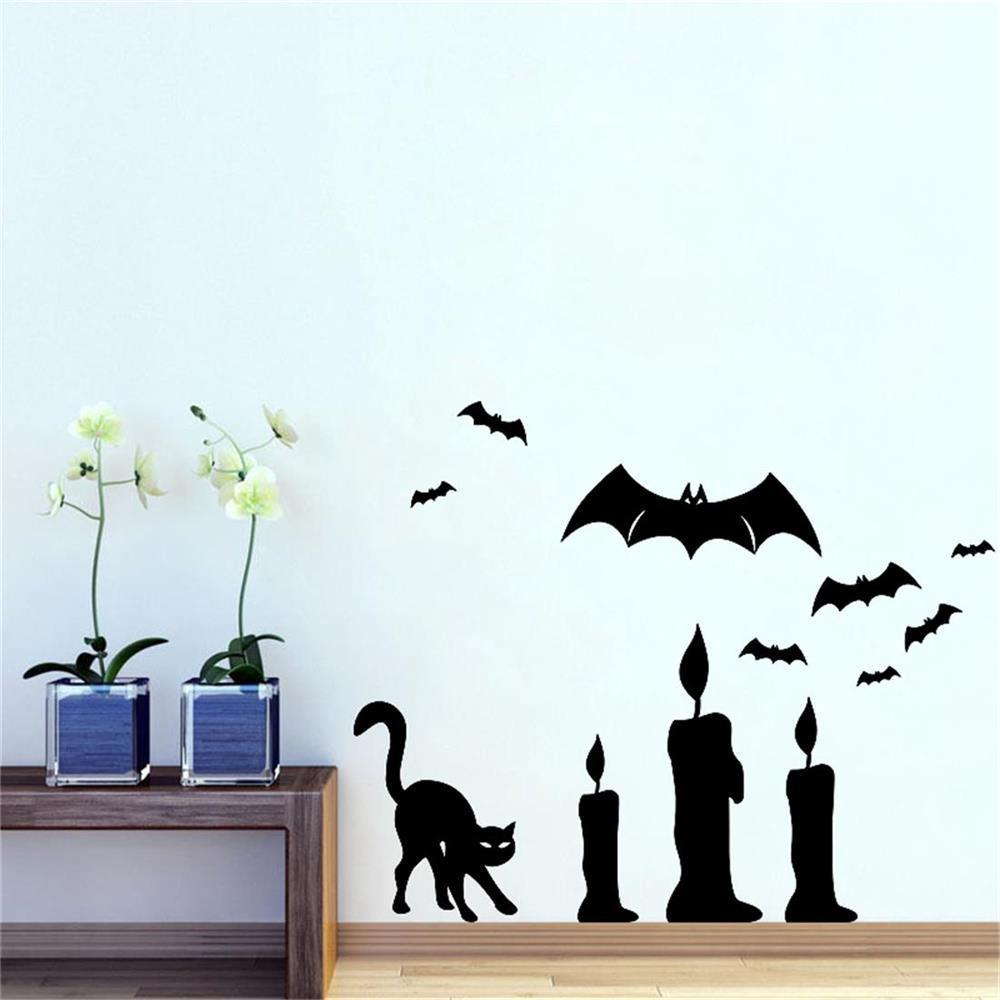 Bat Cat Candle Diy Wall Sticker Removable Pvc Wallpapers Vinyl Art Decal Decor Waterproof Stickers