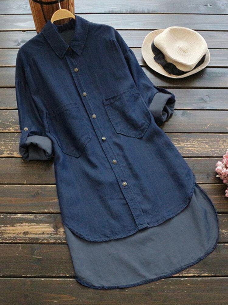 Kvinnor Casual Adjustable Sleeves Lapel Denim Shirts