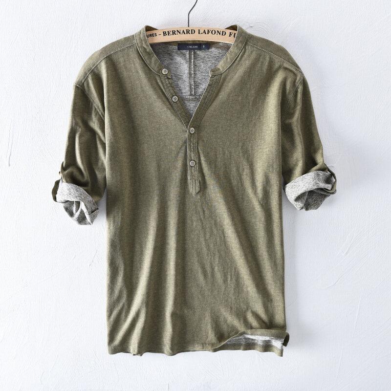 Camisetas 100% algodón respirable del color sólido Casual Botones para hombre