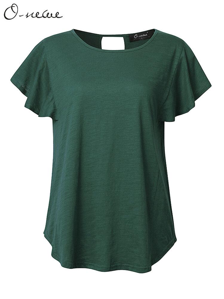 O- newe l - T -shirt ocasional de tamanho de L-5XL de manga de lótus das Mulheres